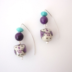 purple and turquoise earrings with little purple and white owls