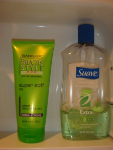Fructis and Suave again, in all their greenness.
