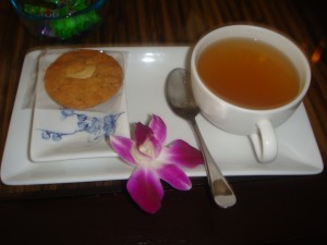 ginger tea with almond cookie at let's relax spa in phuket thailand