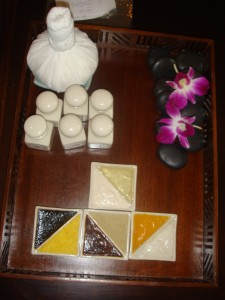 tray of herbal scents and facial treatment options at let's relax spa in phuket thailand