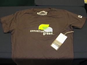 brown opportunity green t-shirt with logo