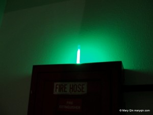 glow stick placed on top of fire hose
