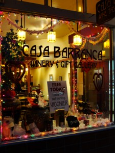 festive display in window of casa barranca tasting room