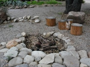 fire pit with log seats