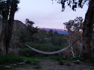 hammock overlooking view of mountains in distance