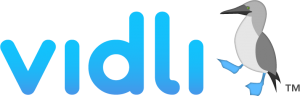 vidli logo with their avatar, the blue-footed booby