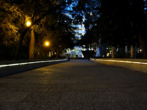 walkway leading from Bunche Hall to Broad Hall