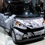 smart car with black and white pattern