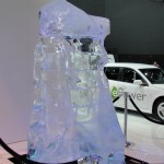 random ice sculpture at auto show