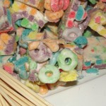 plate of fruit loop marshmallow chunks