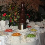 chocolate fondue fountain and the fruits to dip in it