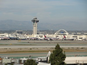 a nice view of lax's control tower and restaurant