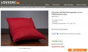 red herringsuede pillowsac set on sale