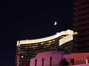 crescent moon shines over the newly-built aria on the vegas strip
