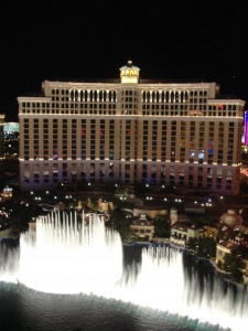 night view of bellagio and its fountain show