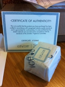 ice.com jewelry box wrapped in tissue paper with certificate of authenticity