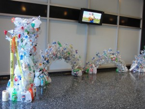entire view of sea dragon made from recycled plastic bottles