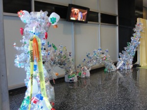 the length of dragon made from recycled plastic bottles viewed from front side