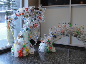 side view of head of dragon made from recycled plastic bottles