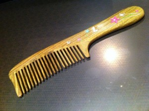 wooden large-tooth comb made with fragrant wood