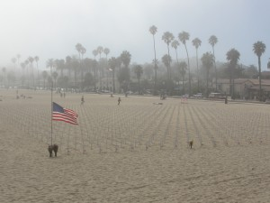 memorial graveyard at santa barbara beach to commemorate soldiers