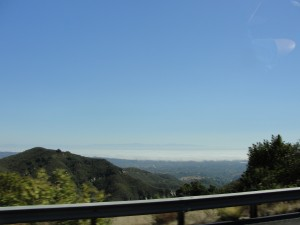 a view of the marine layer covering santa barbara from above in the mountains