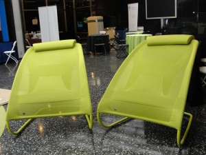 two of the lime kimball fit chairs on display at opportunity green 2010