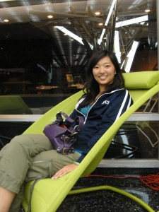 enjoying sitting in the kimball fit chair at opportunity green 2010
