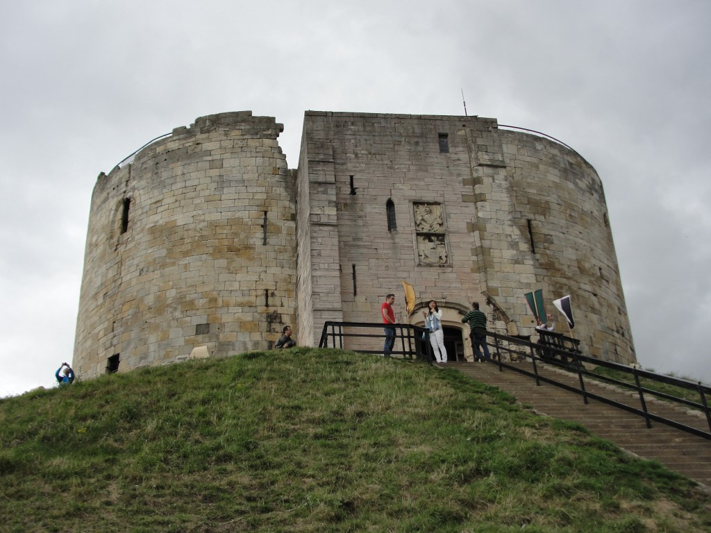 view of clifford's tower from side with staircase