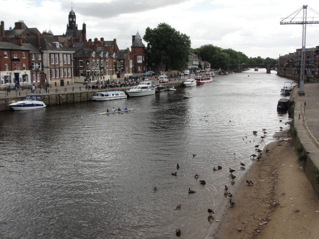 overlooking part of river ouse in york from street bridge