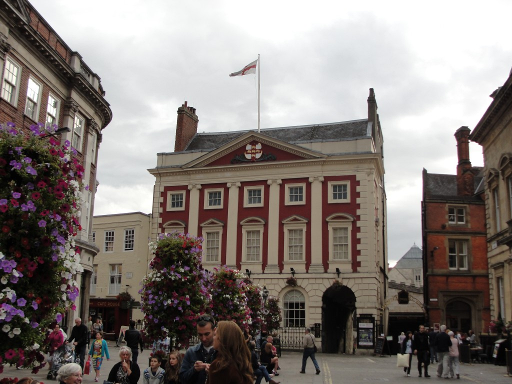 mansion house at st. helen's square in york in plaza with flowers