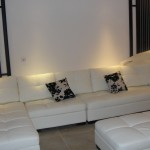 brand new white leather sofa