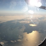 view of the pacific ocean near japan from plane window
