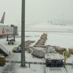 light snow in beijing covering the airport