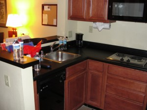small kitchen area in larkspur landing hotel room