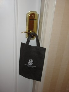 bag that the morning newspaper is delivered in at ritz-carlton marina del rey