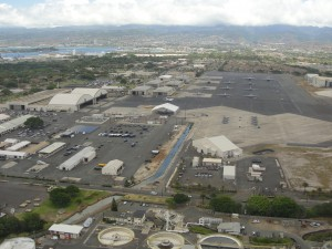 view of hickam air force base on oahu from plane