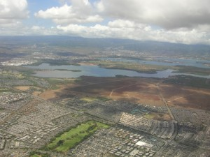 view of pearl harbor from descending plane