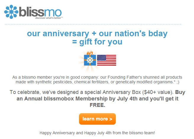 email from blissmo announcing blissmobox anniversary offer