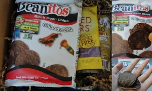 collage of beanitos black bean chips in chipotle bbq flavor