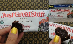 collage of betty lou's justgreatstuff cereal bar in superberry acai flavor