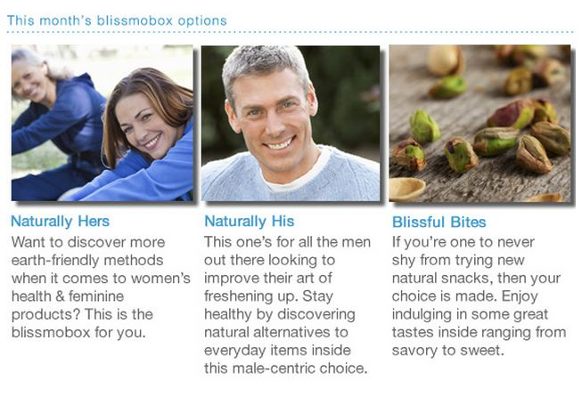 the choices for july's blissmobox: naturally hers, naturally his, or blissful bites