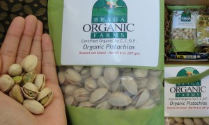 collage of braga farms pistachios in salted flavor