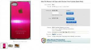 listing of deckmyphone's fuchsia-colored iphone 4 case on ebay site