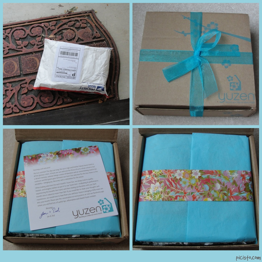collage of yuzen july box from arrival on doorstep to opening of box