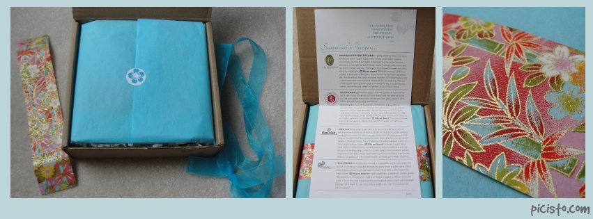 collage of yuzen july box including ribbon, yuzen paper, and info card