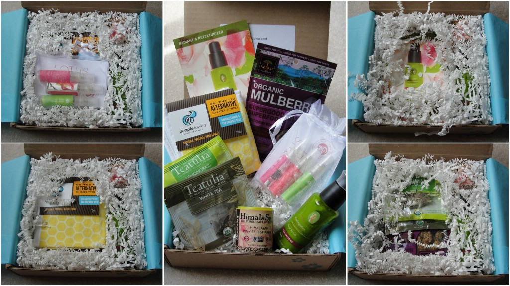 collage of yuzen july box taken apart layer by layer until all products visible