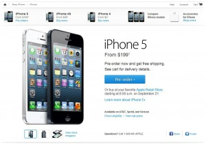 screenshot of apple store iphone 5 preorder page