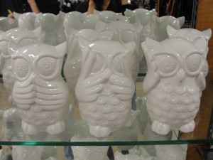 set of three white ceramic owls with see no evil hear no evil speak no evil theme