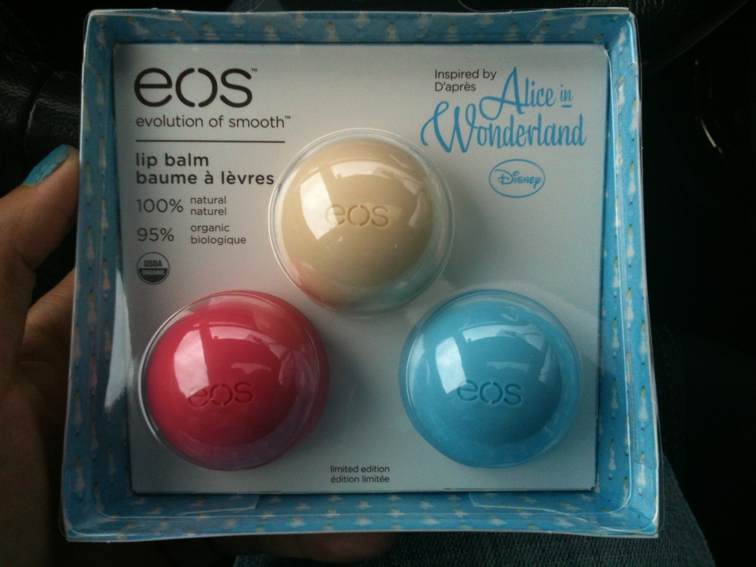 eos lip balms in alice in wonderland theme with three flavors ...